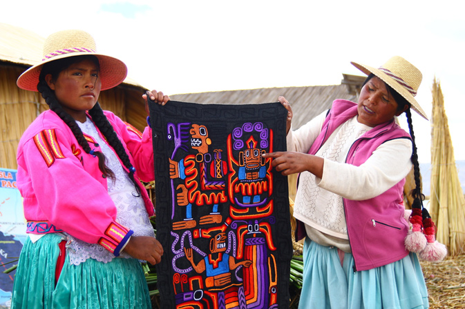 Uros women with blanket